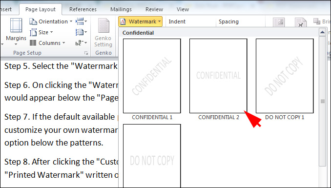 Click Watermark Option And Choose To Add Watermarks Step 7