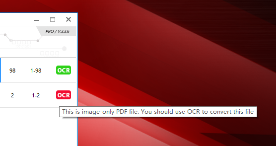 All PDF Converter can detective whether added PDF files is scanned or not.