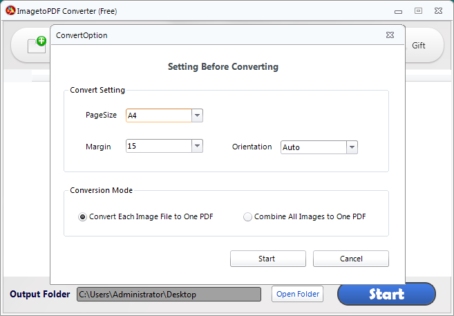 Choose to convert each image file to pdf document or combine all image files into one PDF
