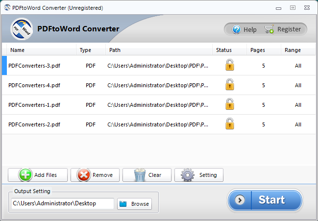 Screenshot of PDFtoWord Converter