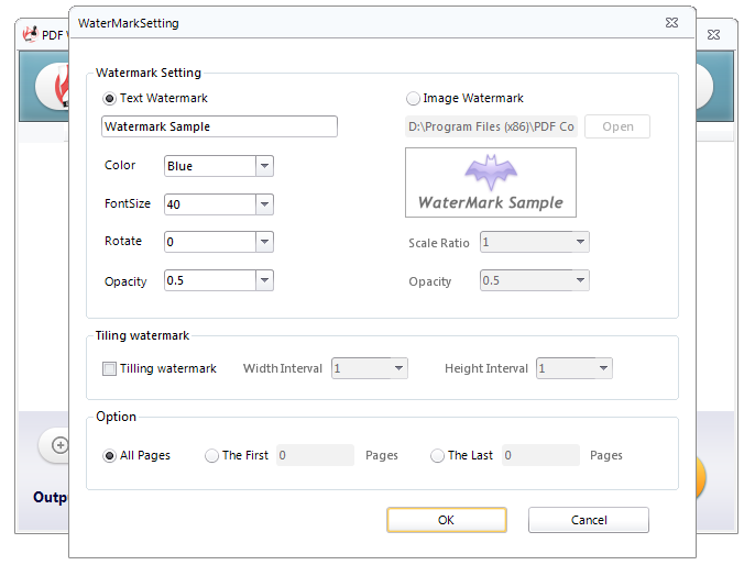 Screenshot of advacned settings in PDF Watermark